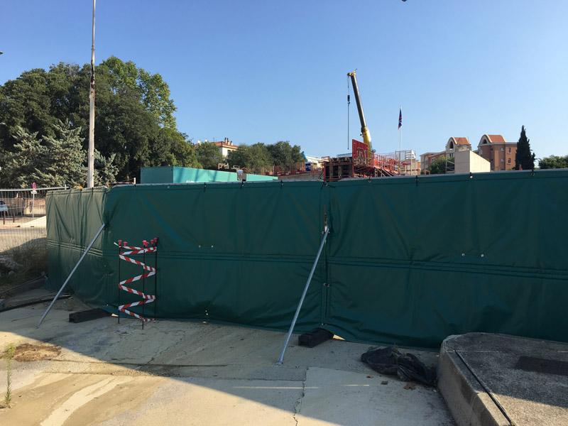 bâches acoustiques pour un chantier train RER à Aix en Provence