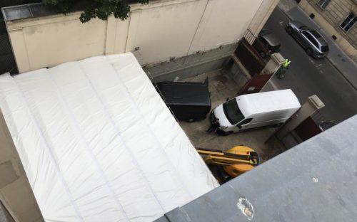 Bâches acoustiques RIGA horizontales zippées pour un chantier de démolition à Paris