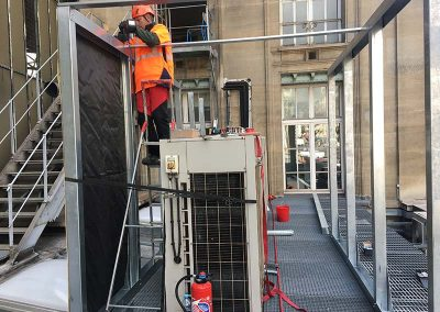 Bâche acoustique, anti-bruit pour les travaux de la gare Saint-Lazare à Paris