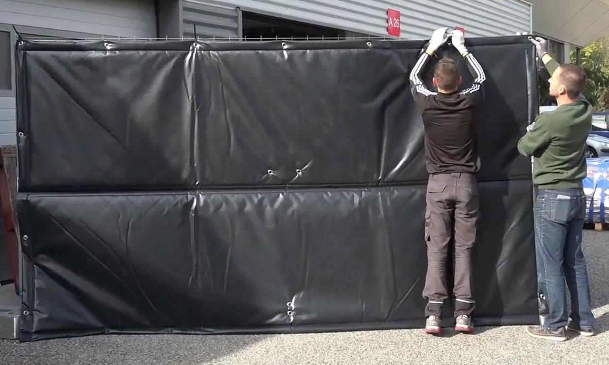 bâche acoustique OSLO adaptée aux barrières mobiliers de chantier