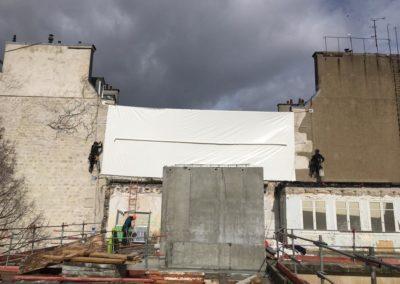 Bâches de protection de chantier à Paris - Chantier rue Vaneau à Paris