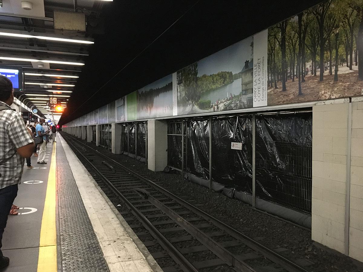 bâches acoustiques pour chantier (Travaux Publics) à Paris - Gare de Lyon RER - D